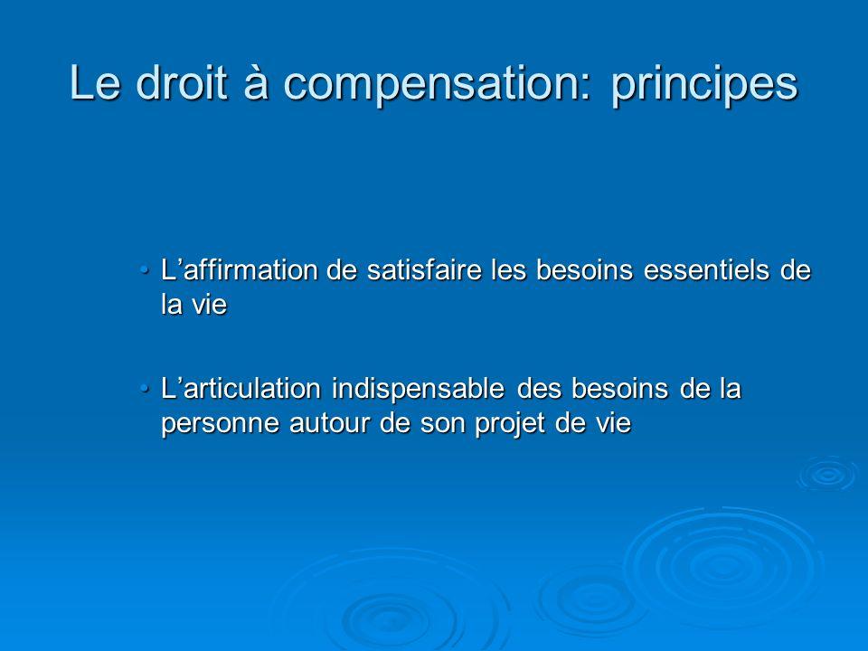 Le droit à compensation: principes Laffirmation de satisfaire les besoins essentiels de la vieLaffirmation de satisfaire les besoins essentiels de la