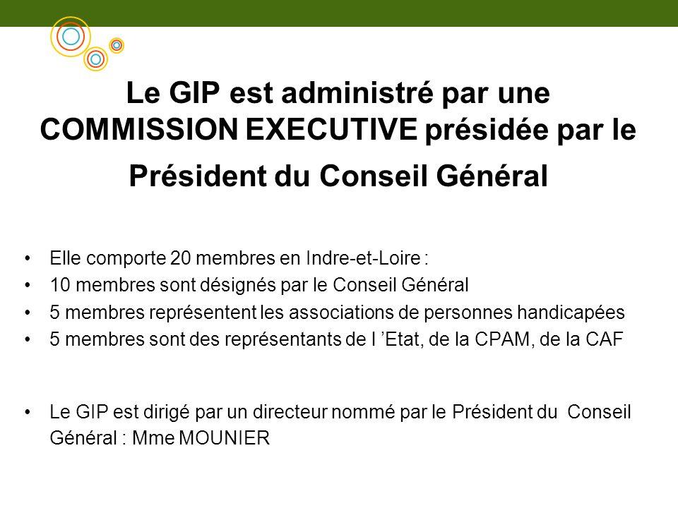 Le GIP est administré par une COMMISSION EXECUTIVE présidée par le Président du Conseil Général Elle comporte 20 membres en Indre-et-Loire : 10 membre