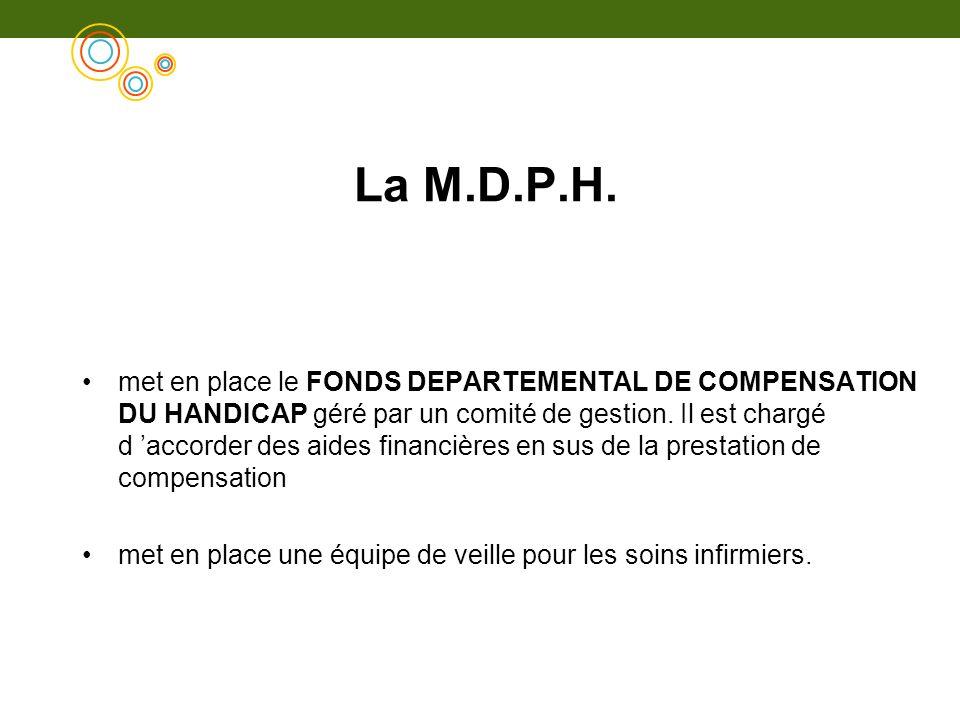 met en place le FONDS DEPARTEMENTAL DE COMPENSATION DU HANDICAP géré par un comité de gestion. Il est chargé d accorder des aides financières en sus d