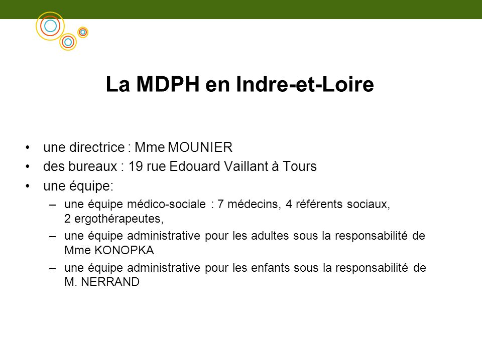 La MDPH en Indre-et-Loire une directrice : Mme MOUNIER des bureaux : 19 rue Edouard Vaillant à Tours une équipe: –une équipe médico-sociale : 7 médeci