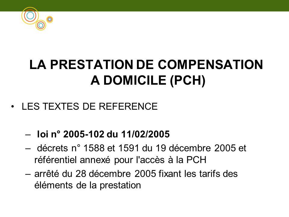 LA PRESTATION DE COMPENSATION A DOMICILE (PCH) LES TEXTES DE REFERENCE – loi n° 2005-102 du 11/02/2005 – décrets n° 1588 et 1591 du 19 décembre 2005 e