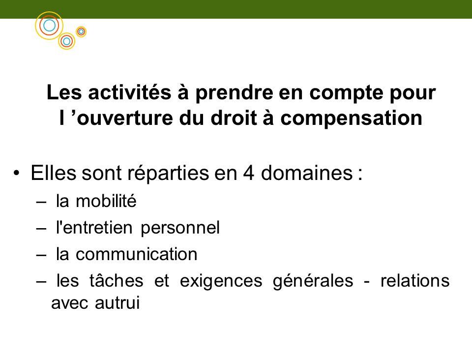Les activités à prendre en compte pour l ouverture du droit à compensation Elles sont réparties en 4 domaines : – la mobilité – l'entretien personnel