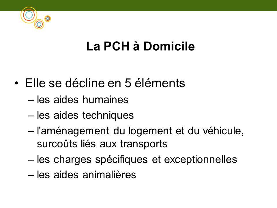 La PCH à Domicile Elle se décline en 5 éléments –les aides humaines –les aides techniques –l'aménagement du logement et du véhicule, surcoûts liés aux