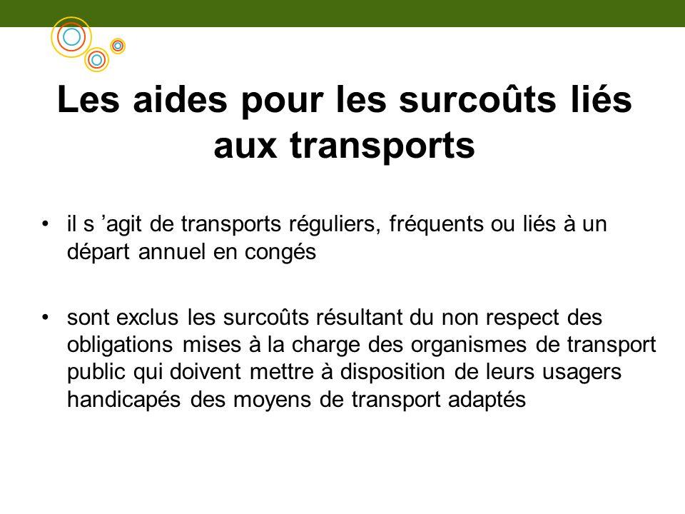 Les aides pour les surcoûts liés aux transports il s agit de transports réguliers, fréquents ou liés à un départ annuel en congés sont exclus les surc