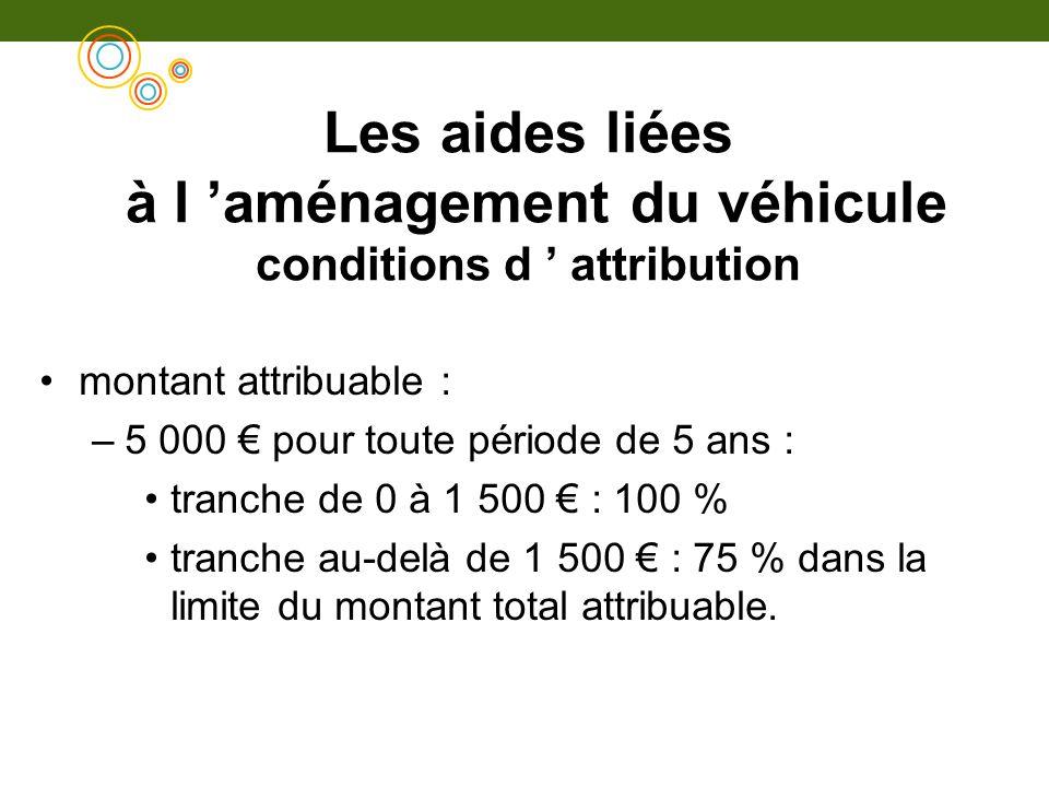 Les aides liées à l aménagement du véhicule conditions d attribution montant attribuable : –5 000 pour toute période de 5 ans : tranche de 0 à 1 500 :