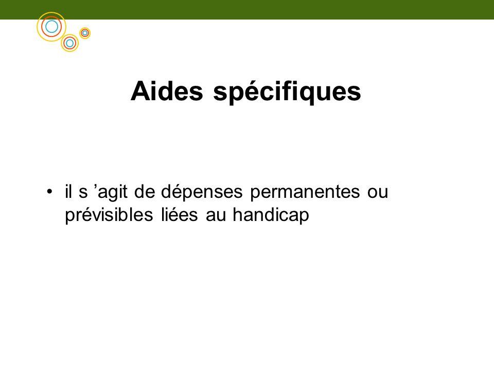 Aides spécifiques il s agit de dépenses permanentes ou prévisibles liées au handicap
