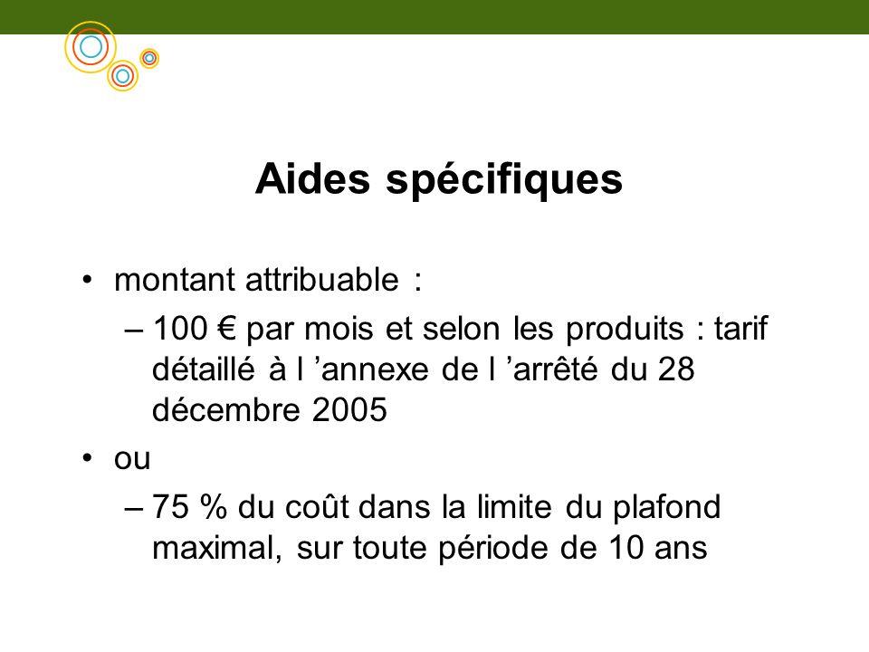 Aides spécifiques montant attribuable : –100 par mois et selon les produits : tarif détaillé à l annexe de l arrêté du 28 décembre 2005 ou –75 % du co