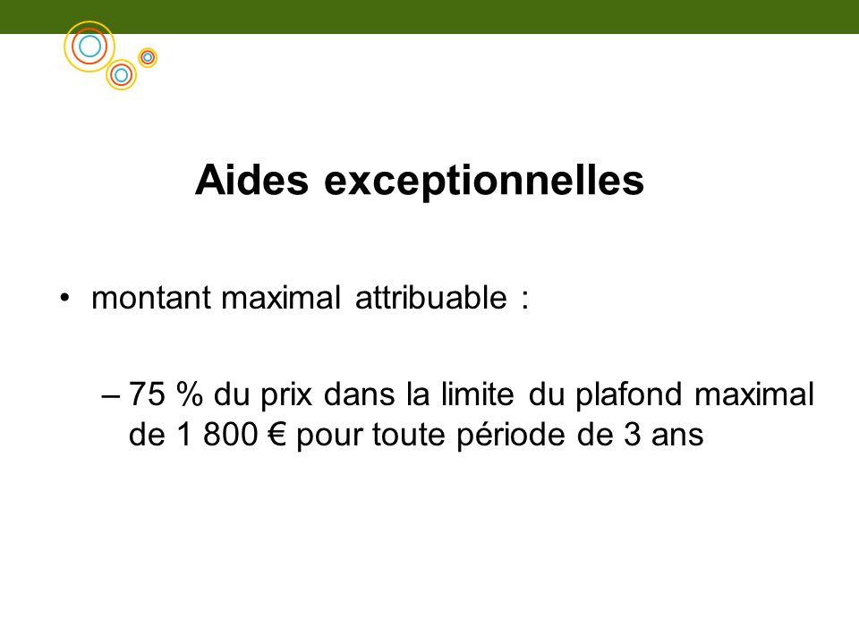 Aides exceptionnelles montant maximal attribuable : –75 % du prix dans la limite du plafond maximal de 1 800 pour toute période de 3 ans
