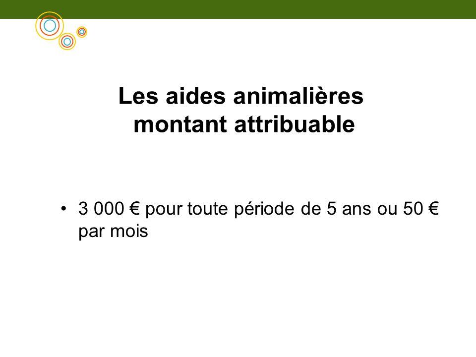 Les aides animalières montant attribuable 3 000 pour toute période de 5 ans ou 50 par mois