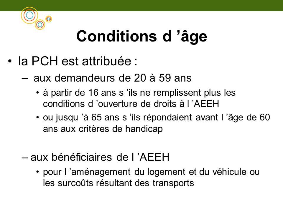 Conditions d âge la PCH est attribuée : – aux demandeurs de 20 à 59 ans à partir de 16 ans s ils ne remplissent plus les conditions d ouverture de dro