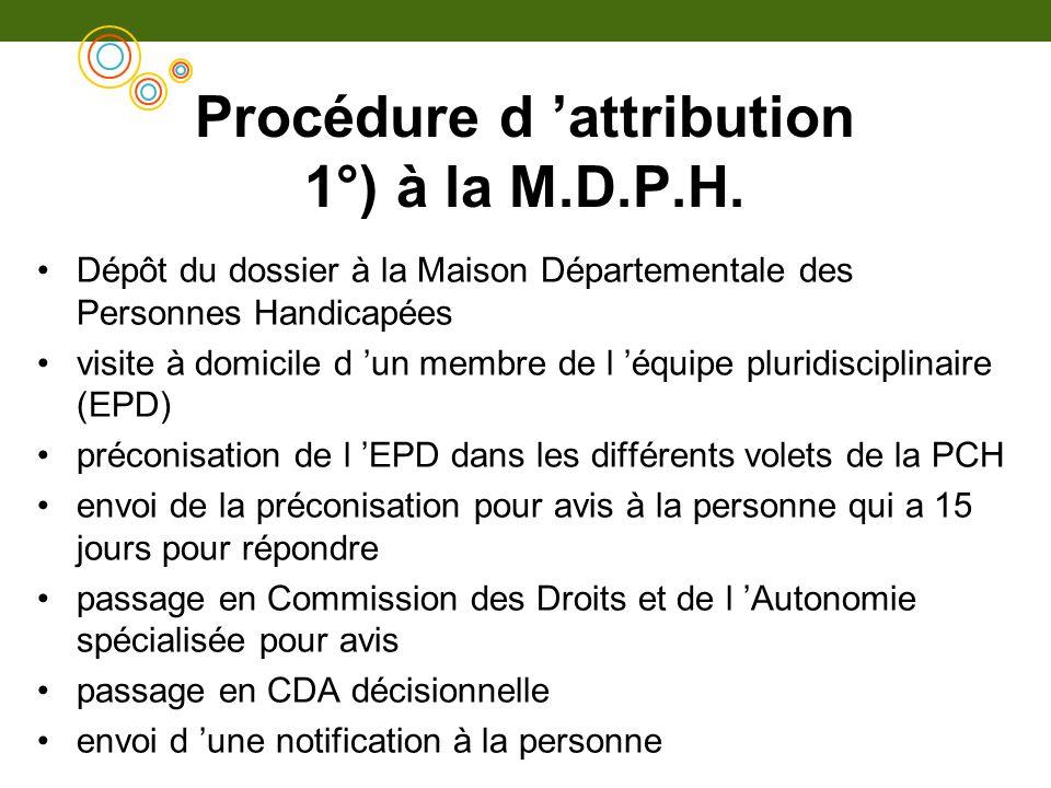 Procédure d attribution 1°) à la M.D.P.H. Dépôt du dossier à la Maison Départementale des Personnes Handicapées visite à domicile d un membre de l équ