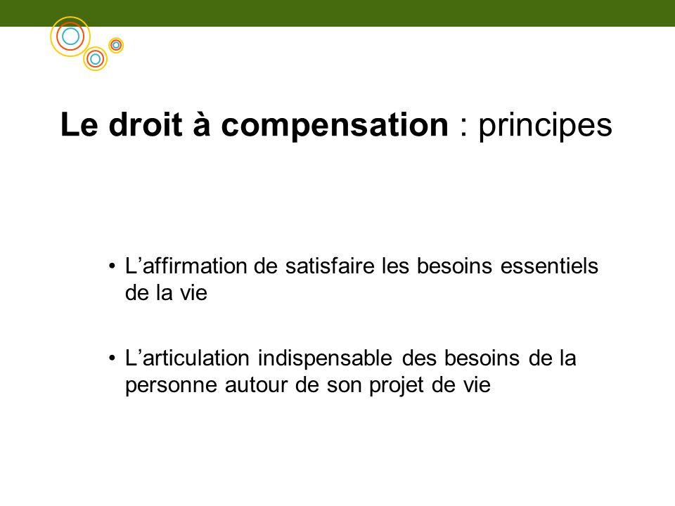 Le droit à compensation : principes Laffirmation de satisfaire les besoins essentiels de la vie Larticulation indispensable des besoins de la personne