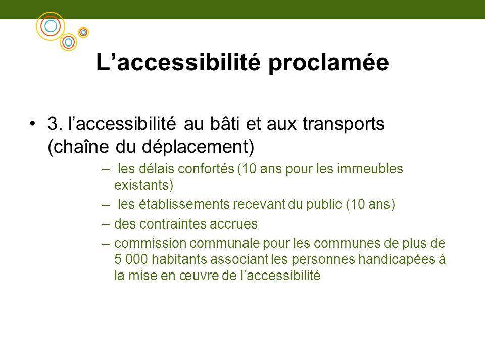 Laccessibilité proclamée 3. laccessibilité au bâti et aux transports (chaîne du déplacement) – les délais confortés (10 ans pour les immeubles existan