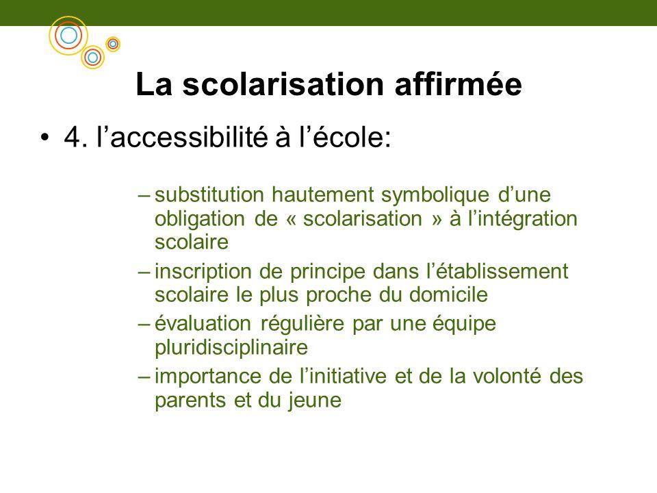 La scolarisation affirmée 4. laccessibilité à lécole: –substitution hautement symbolique dune obligation de « scolarisation » à lintégration scolaire