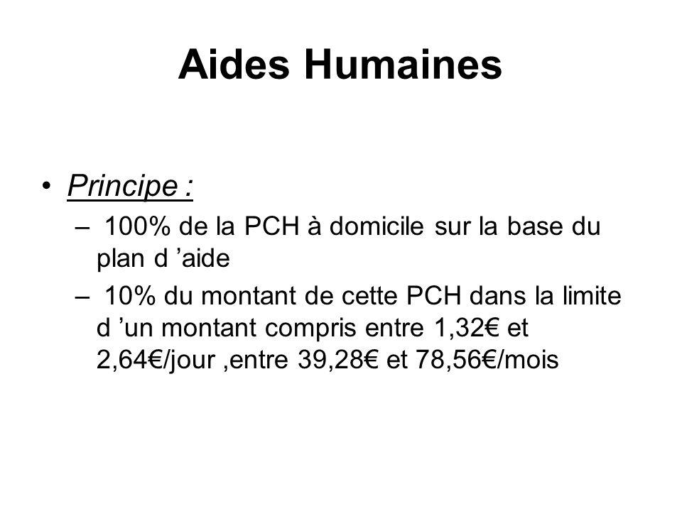 Aides Humaines Principe : – 100% de la PCH à domicile sur la base du plan d aide – 10% du montant de cette PCH dans la limite d un montant compris ent