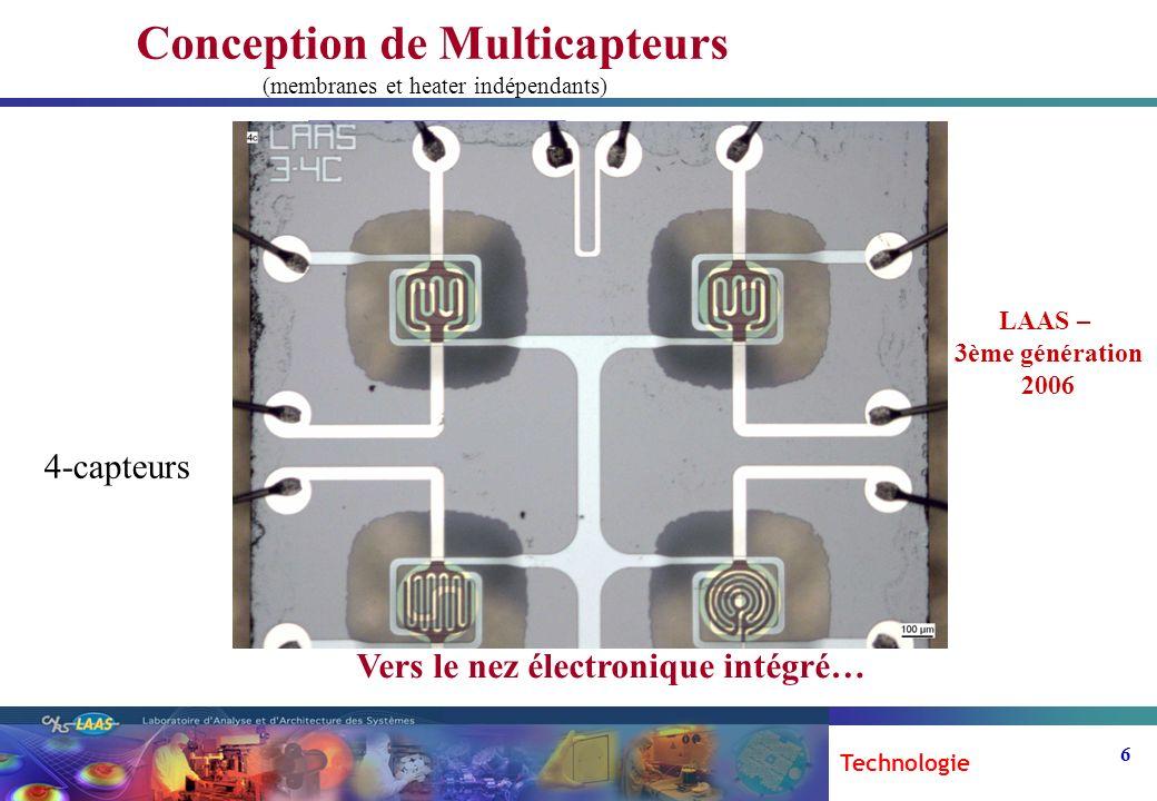 6 Conception de Multicapteurs (membranes et heater indépendants) Bi-capteur 2.2mm 1.3 mm 1.8 mm 3.5mm 4-capteurs 3.0mm 2.2mm Vers le nez électronique