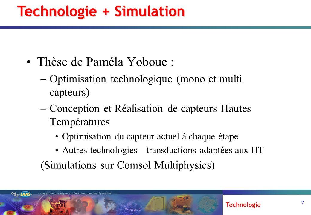 7 Thèse de Paméla Yoboue : –Optimisation technologique (mono et multi capteurs) –Conception et Réalisation de capteurs Hautes Températures Optimisatio