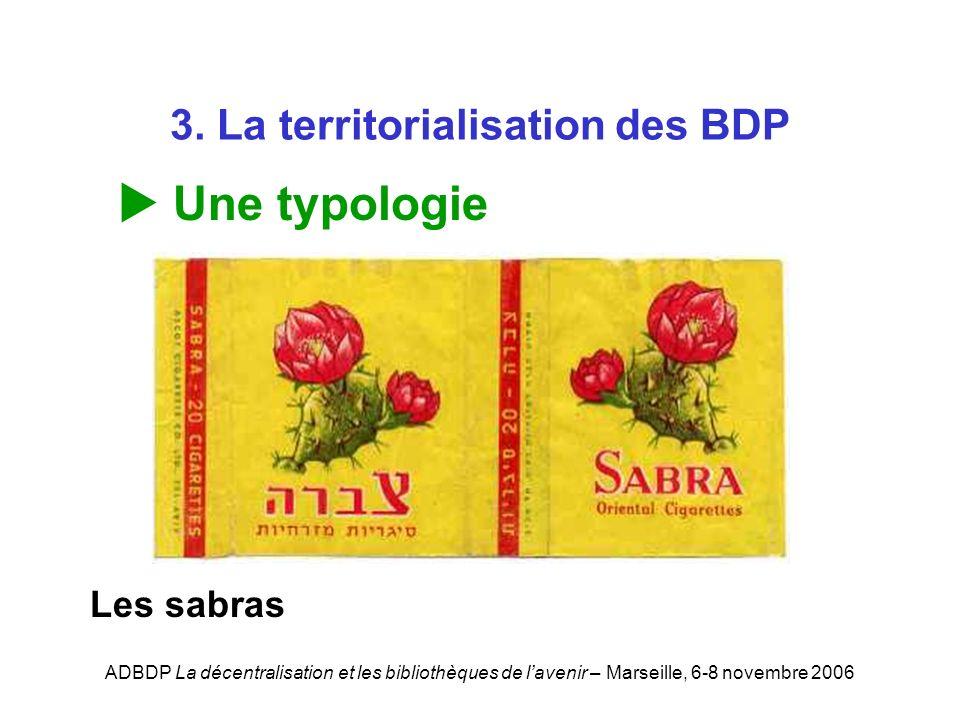 ADBDP La décentralisation et les bibliothèques de lavenir – Marseille, 6-8 novembre 2006 3. La territorialisation des BDP Une typologie Les sabras