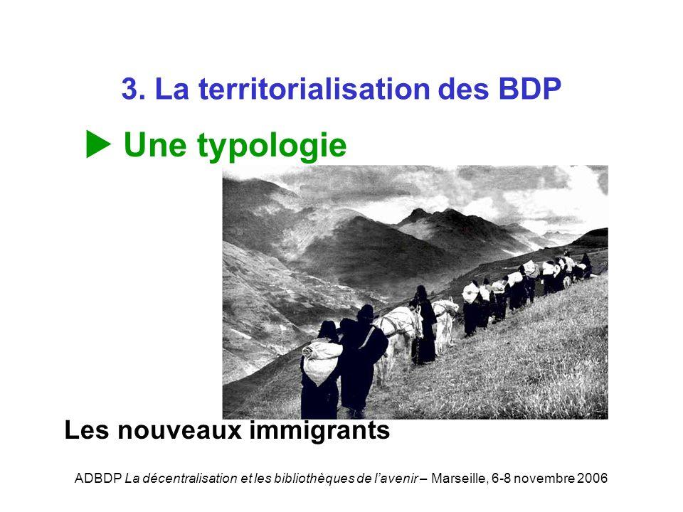ADBDP La décentralisation et les bibliothèques de lavenir – Marseille, 6-8 novembre 2006 3. La territorialisation des BDP Une typologie Les nouveaux i