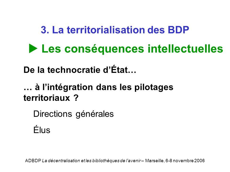 ADBDP La décentralisation et les bibliothèques de lavenir – Marseille, 6-8 novembre 2006 3. La territorialisation des BDP Les conséquences intellectue