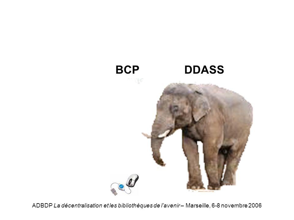 ADBDP La décentralisation et les bibliothèques de lavenir – Marseille, 6-8 novembre 2006 DDASS-BCP DDASSBCP