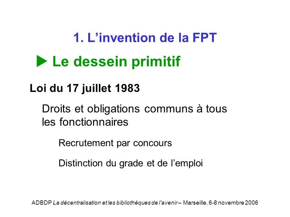 ADBDP La décentralisation et les bibliothèques de lavenir – Marseille, 6-8 novembre 2006 1. Linvention de la FPT Le dessein primitif Loi du 17 juillet
