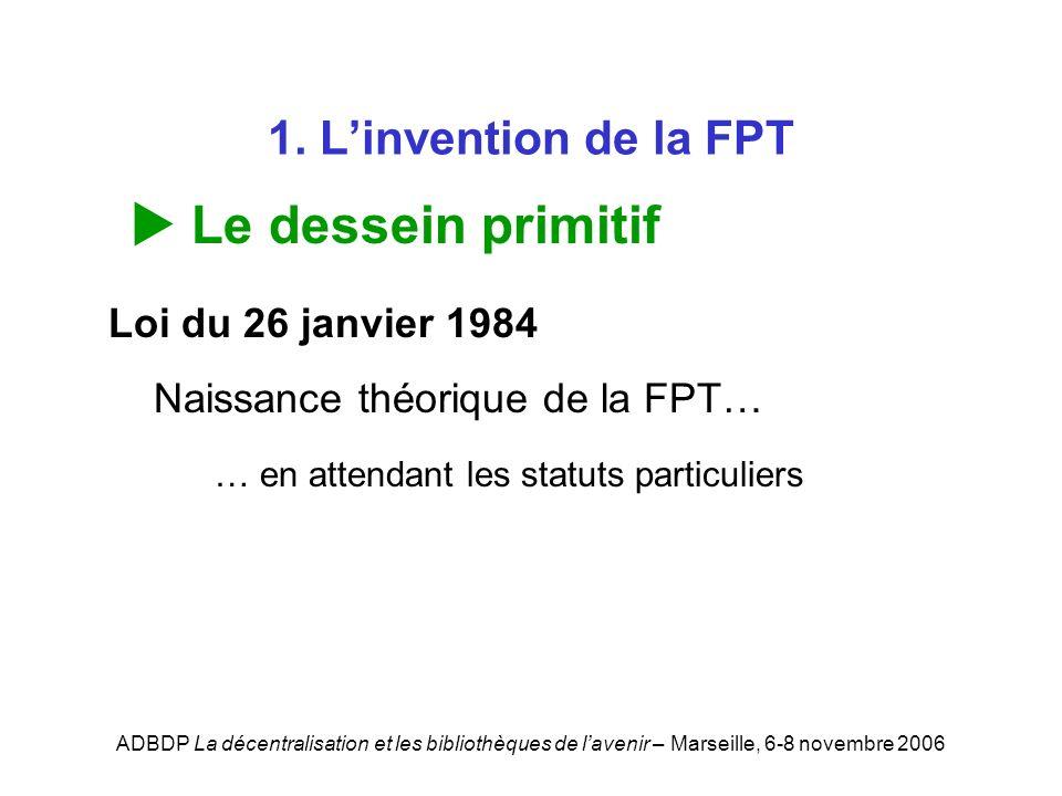 ADBDP La décentralisation et les bibliothèques de lavenir – Marseille, 6-8 novembre 2006 1. Linvention de la FPT Le dessein primitif Loi du 26 janvier
