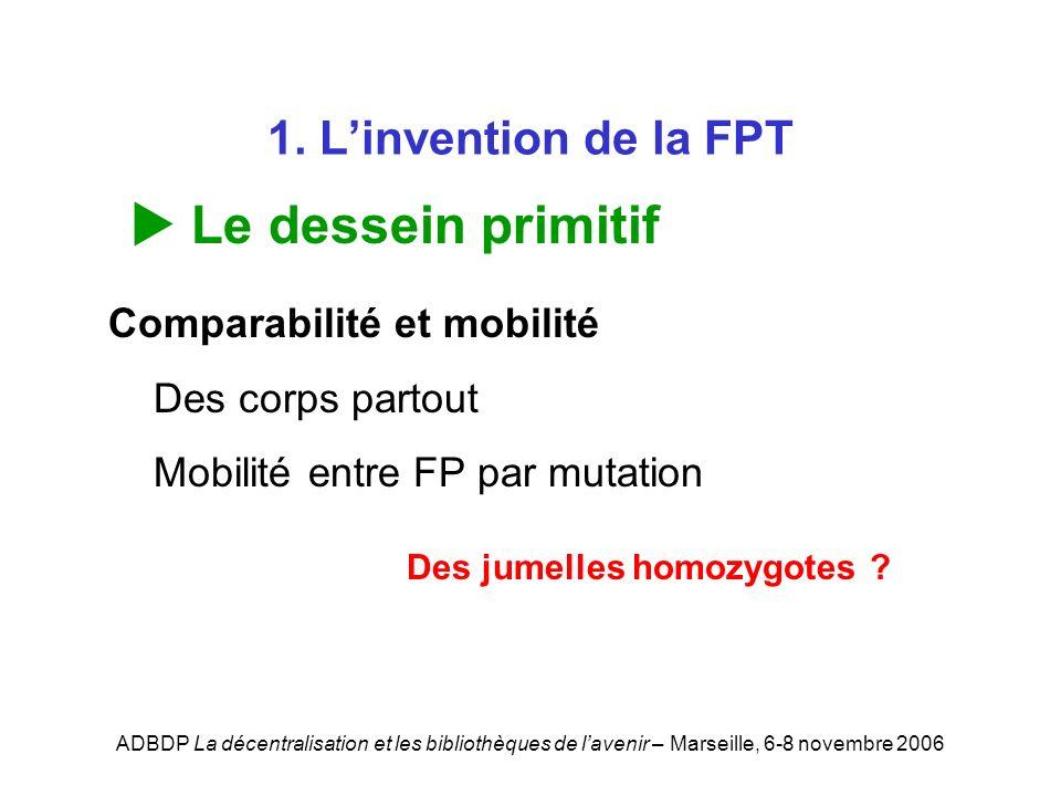 ADBDP La décentralisation et les bibliothèques de lavenir – Marseille, 6-8 novembre 2006 1. Linvention de la FPT Le dessein primitif Comparabilité et