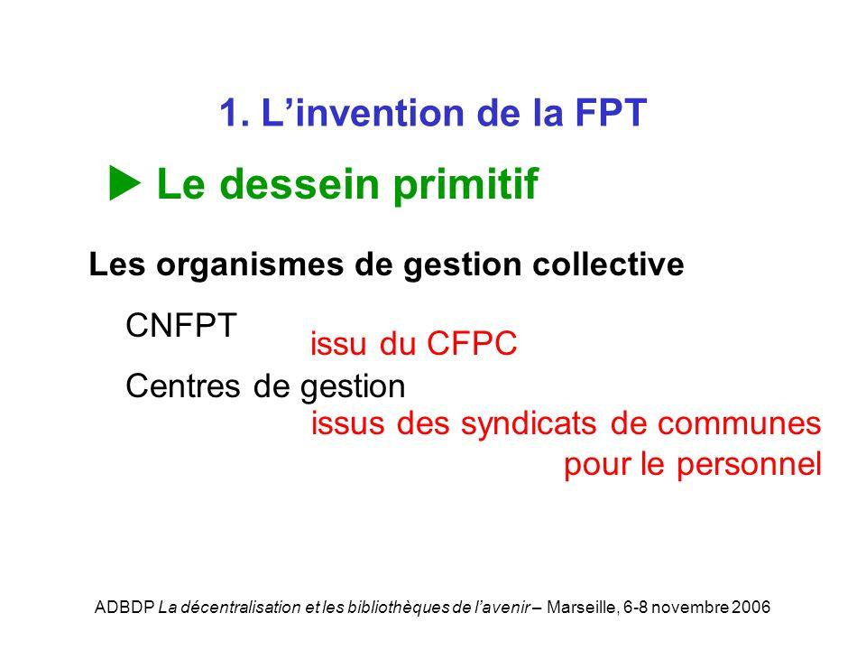 ADBDP La décentralisation et les bibliothèques de lavenir – Marseille, 6-8 novembre 2006 1. Linvention de la FPT Le dessein primitif Les organismes de