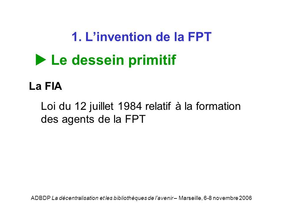 ADBDP La décentralisation et les bibliothèques de lavenir – Marseille, 6-8 novembre 2006 1. Linvention de la FPT Le dessein primitif La FIA Loi du 12