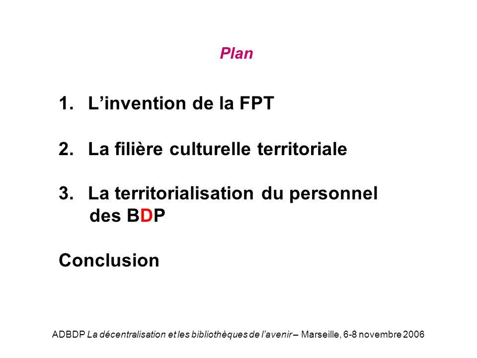 ADBDP La décentralisation et les bibliothèques de lavenir – Marseille, 6-8 novembre 2006 Plan 1. Linvention de la FPT 2. La filière culturelle territo