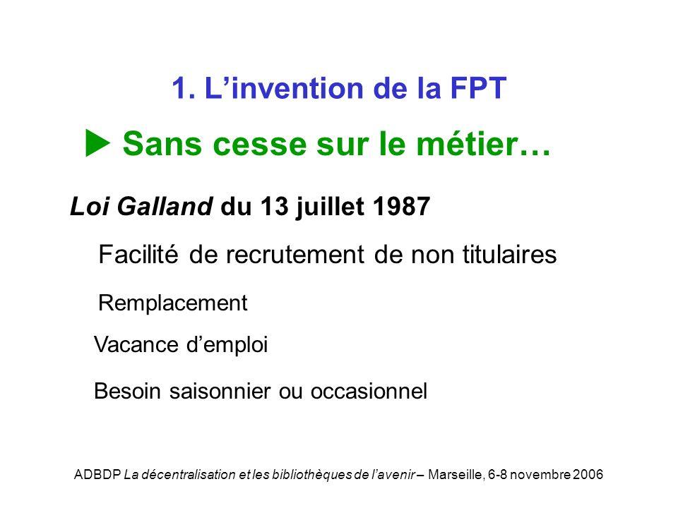 ADBDP La décentralisation et les bibliothèques de lavenir – Marseille, 6-8 novembre 2006 1. Linvention de la FPT Sans cesse sur le métier… Loi Galland
