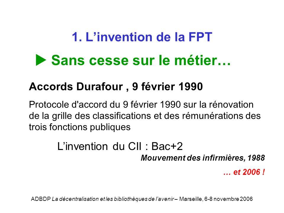 ADBDP La décentralisation et les bibliothèques de lavenir – Marseille, 6-8 novembre 2006 1. Linvention de la FPT Sans cesse sur le métier… Accords Dur