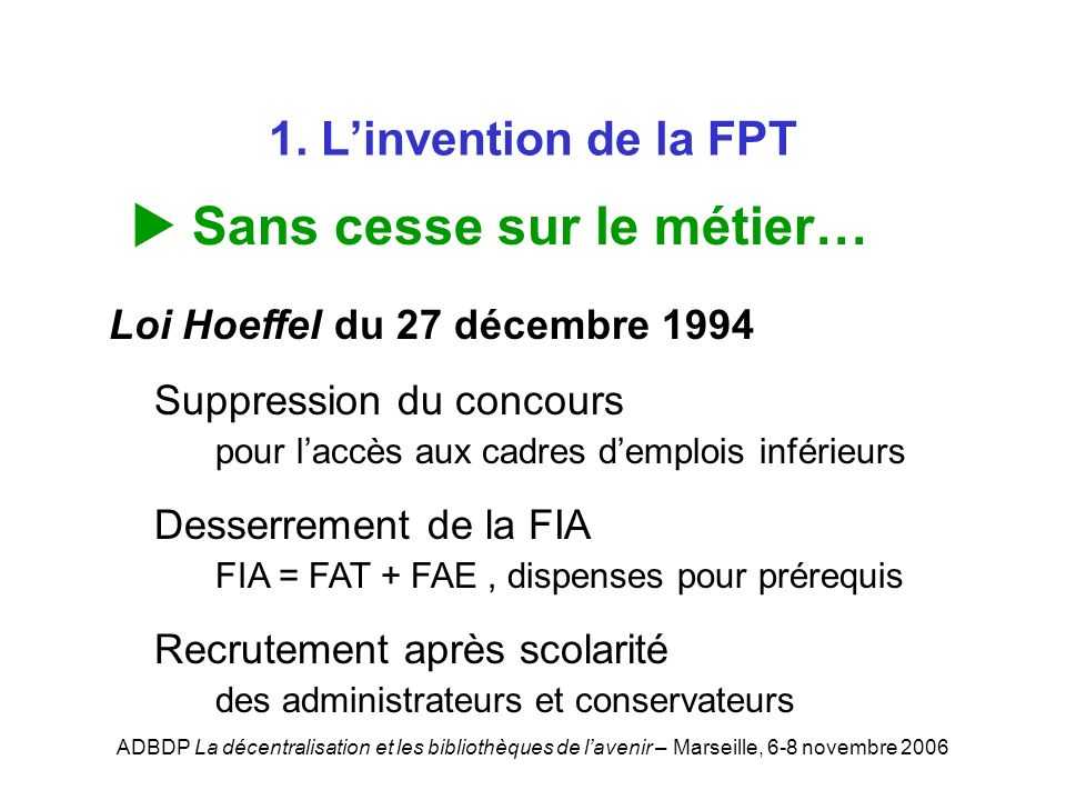 ADBDP La décentralisation et les bibliothèques de lavenir – Marseille, 6-8 novembre 2006 1. Linvention de la FPT Sans cesse sur le métier… Loi Hoeffel