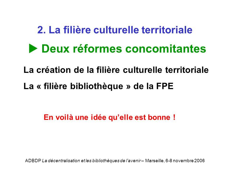 ADBDP La décentralisation et les bibliothèques de lavenir – Marseille, 6-8 novembre 2006 2. La filière culturelle territoriale Deux réformes concomita