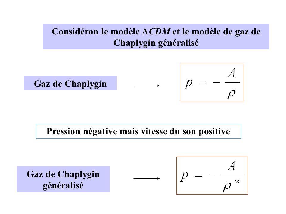 Considéron le modèle CDM et le modèle de gaz de Chaplygin généralisé Gaz de Chaplygin Pression négative mais vitesse du son positive Gaz de Chaplygin généralisé