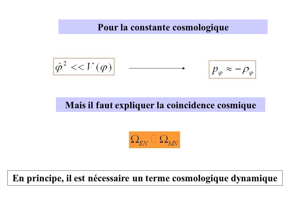 Mais il faut expliquer la coincidence cosmique Pour la constante cosmologique En principe, il est nécessaire un terme cosmologique dynamique