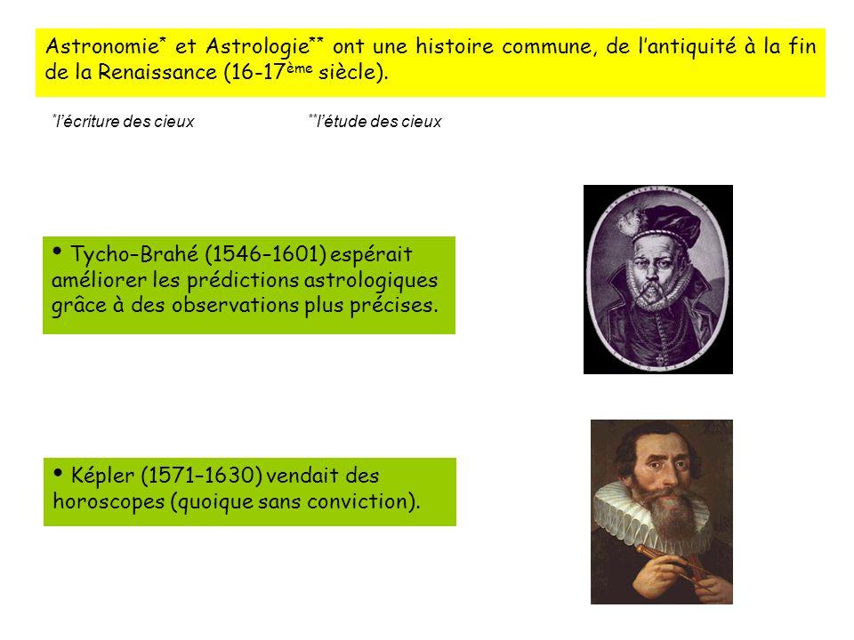 Astronomie * et Astrologie ** ont une histoire commune, de lantiquité à la fin de la Renaissance (16-17 ème siècle).