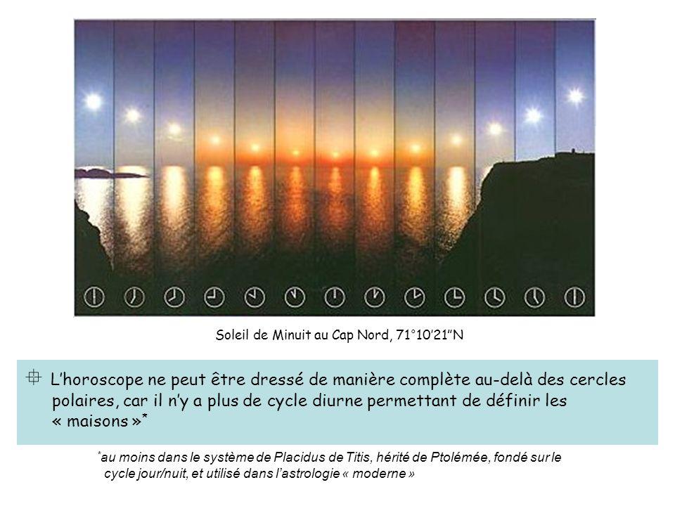 Lhoroscope ne peut être dressé de manière complète au-delà des cercles polaires, car il ny a plus de cycle diurne permettant de définir les « maisons » * * au moins dans le système de Placidus de Titis, hérité de Ptolémée, fondé sur le cycle jour/nuit, et utilisé dans lastrologie « moderne » Soleil de Minuit au Cap Nord, 71°1021N