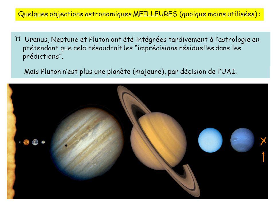 Quelques objections astronomiques MEILLEURES (quoique moins utilisées) : Uranus, Neptune et Pluton ont été intégrées tardivement à lastrologie en prétendant que cela résoudrait les imprécisions résiduelles dans les prédictions.