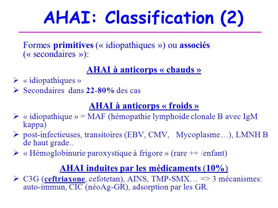 AHAI: Classification (2) Formes primitives (« idiopathiques ») ou associés (« secondaires »): AHAI à anticorps « chauds » « idiopathiques » Secondaire