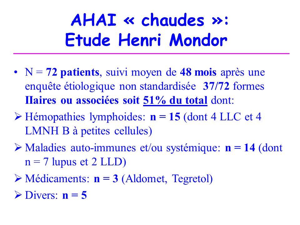 AHAI « chaudes »: Etude Henri Mondor N = 72 patients, suivi moyen de 48 mois après une enquête étiologique non standardisée 37/72 formes IIaires ou as