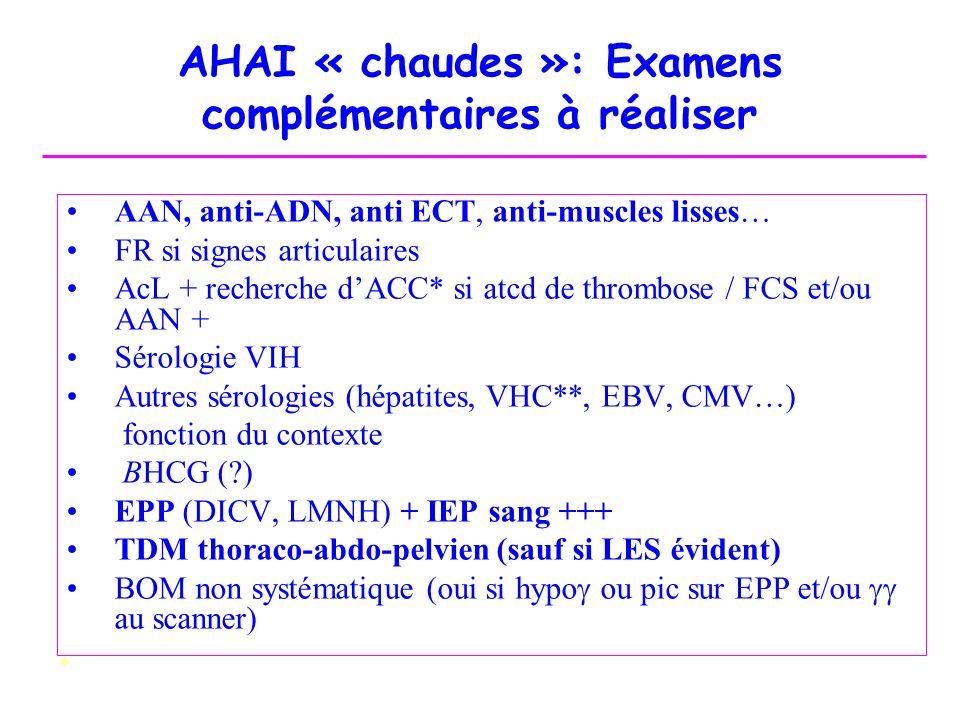 AHAI « chaudes »: Examens complémentaires à réaliser AAN, anti-ADN, anti ECT, anti-muscles lisses… FR si signes articulaires AcL + recherche dACC* si
