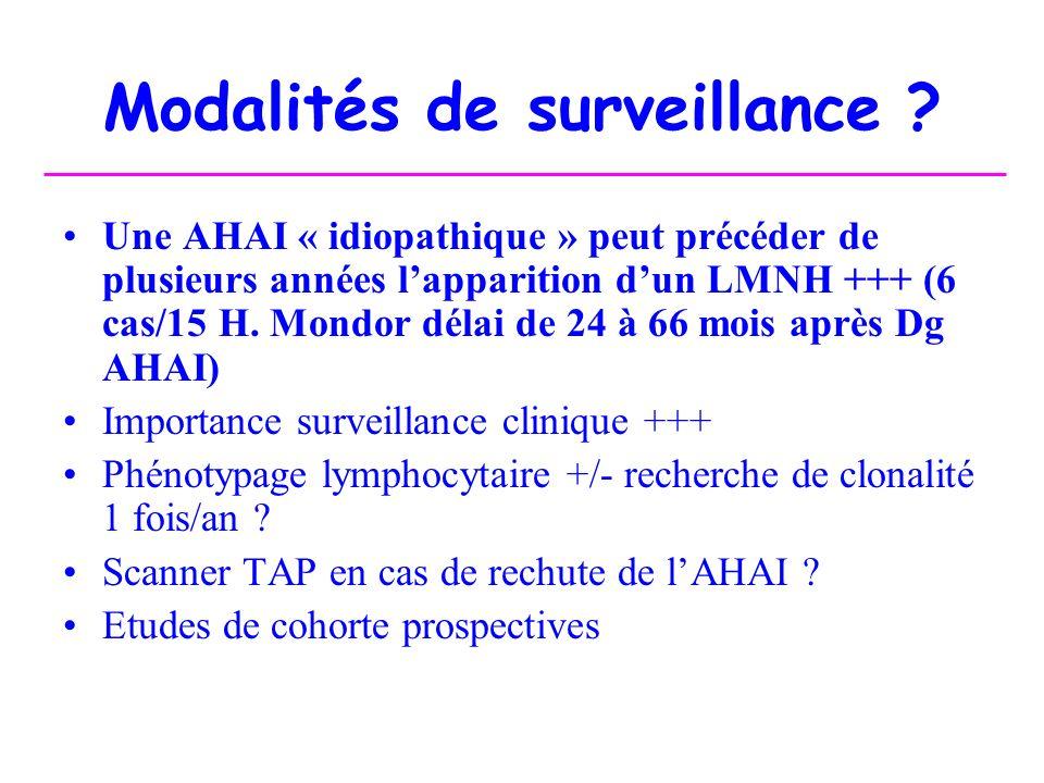 Modalités de surveillance ? Une AHAI « idiopathique » peut précéder de plusieurs années lapparition dun LMNH +++ (6 cas/15 H. Mondor délai de 24 à 66
