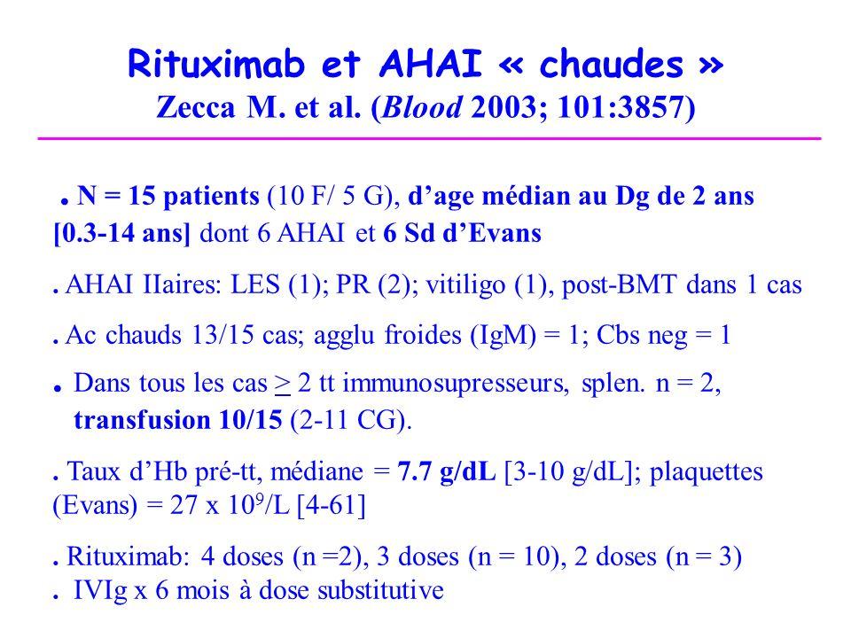 Rituximab et AHAI « chaudes » Zecca M. et al. (Blood 2003; 101:3857). N = 15 patients (10 F/ 5 G), dage médian au Dg de 2 ans [0.3-14 ans] dont 6 AHAI