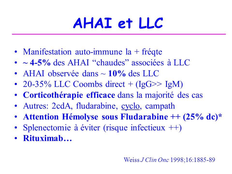 AHAI et LLC Manifestation auto-immune la + fréqte ~ 4-5% des AHAI chaudes associées à LLC AHAI observée dans ~ 10% des LLC 20-35% LLC Coombs direct +