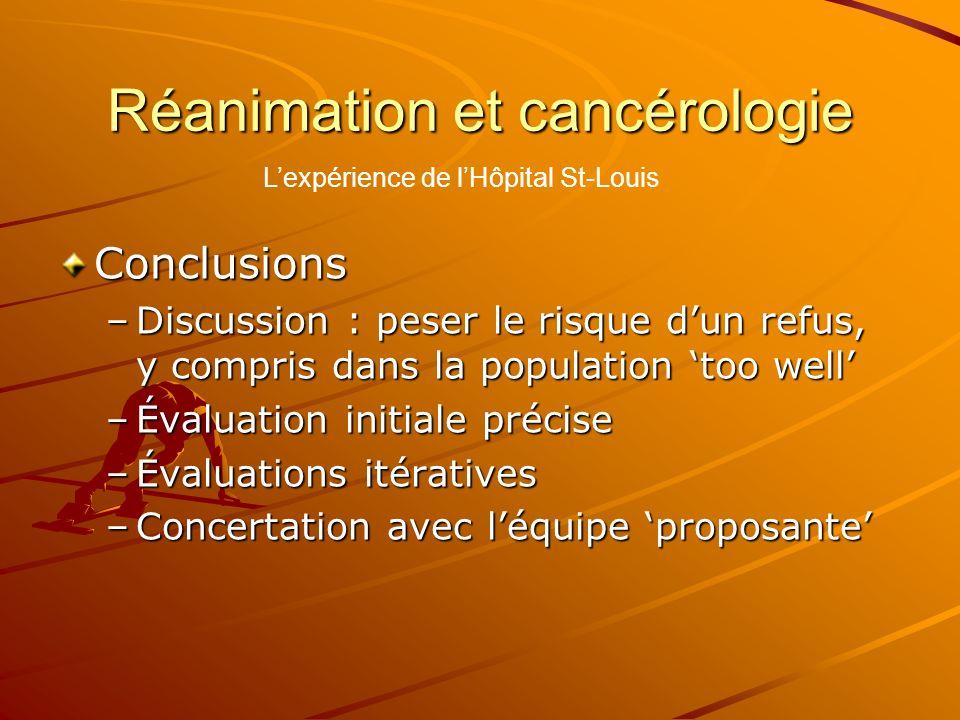 Réanimation et cancérologie Conclusions –Discussion : peser le risque dun refus, y compris dans la population too well –Évaluation initiale précise –É