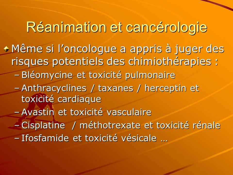 Réanimation et cancérologie Même si loncologue a appris à juger des risques potentiels des chimiothérapies : –Bléomycine et toxicité pulmonaire –Anthr