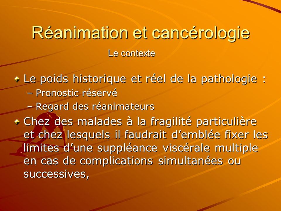 Réanimation et cancérologie Le poids historique et réel de la pathologie : –Pronostic réservé –Regard des réanimateurs Chez des malades à la fragilité