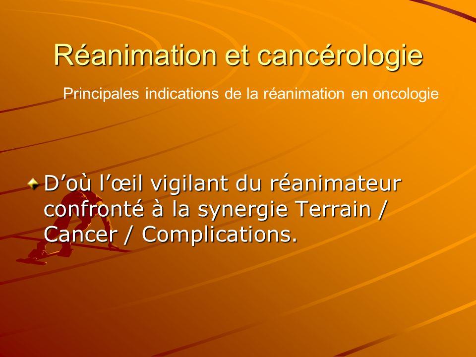 Réanimation et cancérologie Doù lœil vigilant du réanimateur confronté à la synergie Terrain / Cancer / Complications. Principales indications de la r